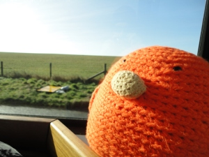 Bert in the shuttle to Stonehenge