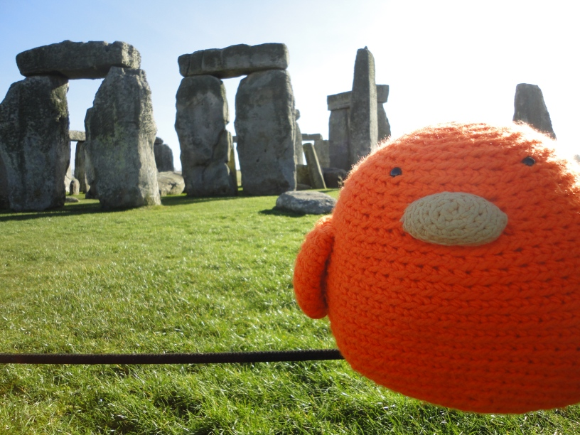 Bert on a wire - at Stonehenge