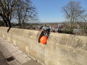 Resting on the wall