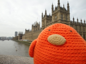 Bert outside the Palace of Westminster