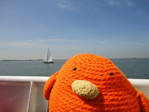 Bert on a boat to Marken